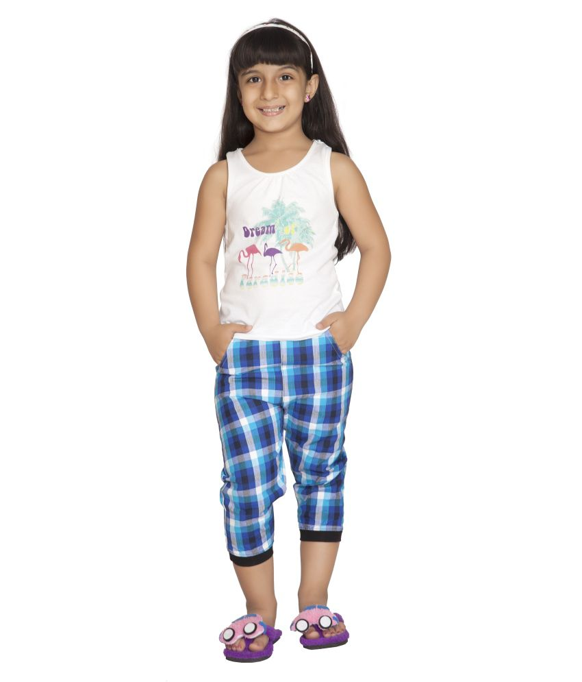 Clifton Cotton Checks Capris For Girls