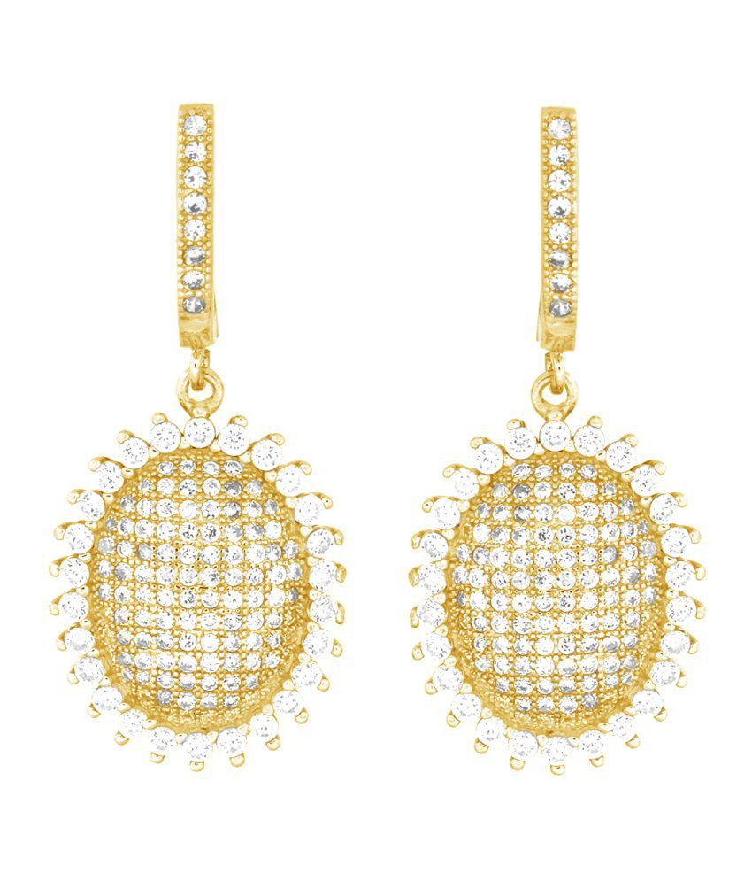 Gemtogems Yellow Gold Plated Sterling Silver Sizzling Oval Simulated Diamonds Earrings