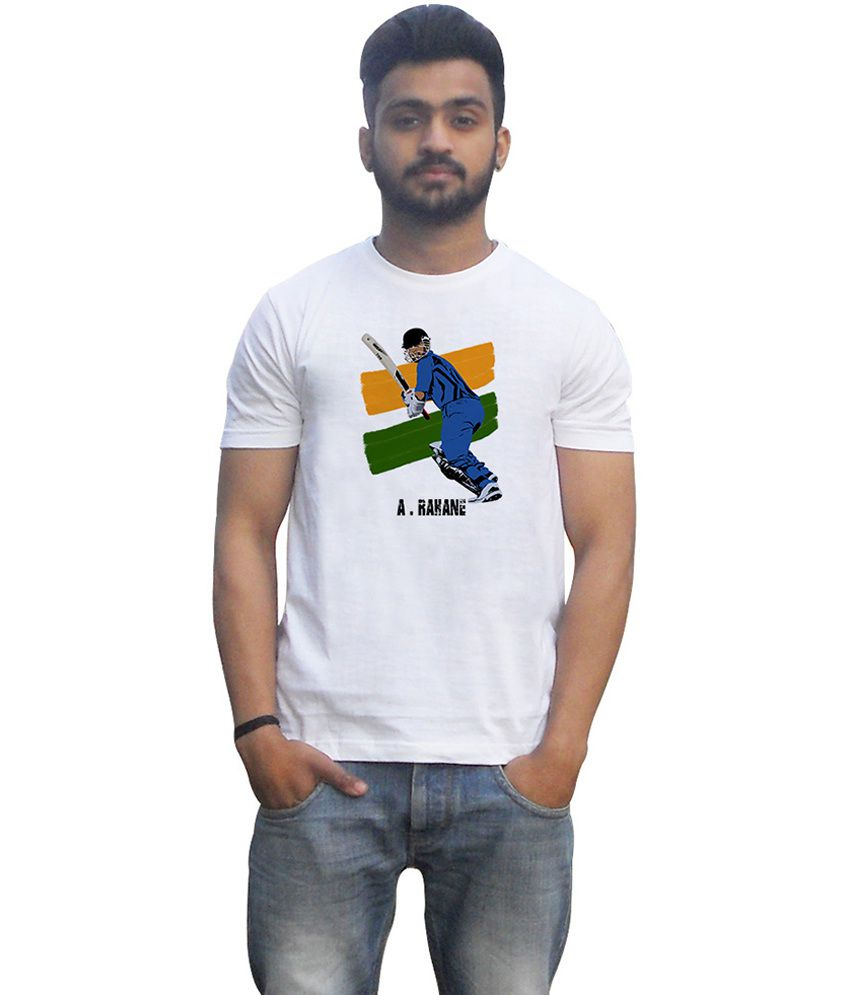 Lovely Collection White Cotton Round Neck Half Sleeves Printed A.rahane T Shirt