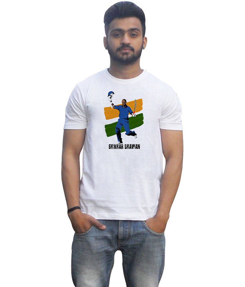 Lovely Collection White Cotton Round Neck Half Sleeves Printed Shikhar Dhawan T Shirt