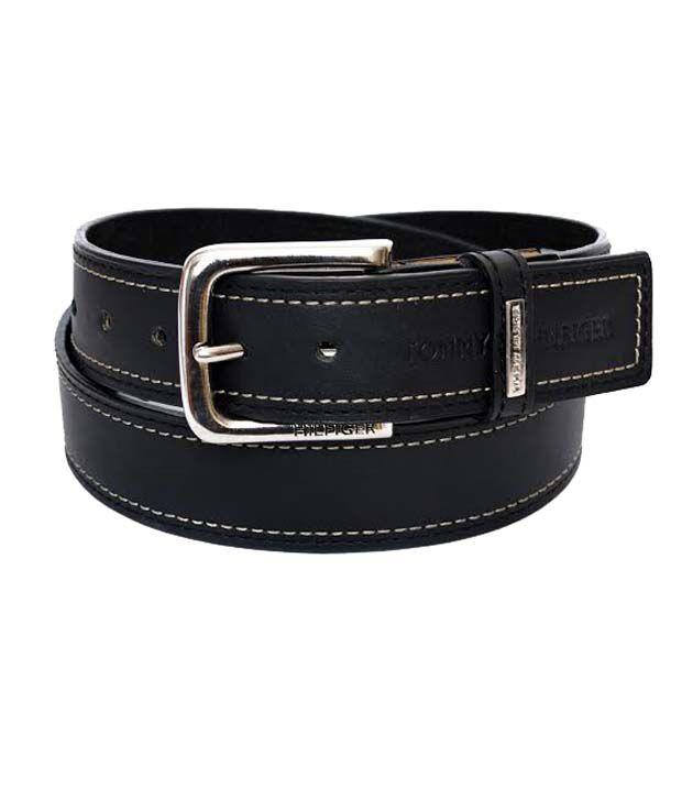 Tommy Hilfiger Black Leather Belt For Men