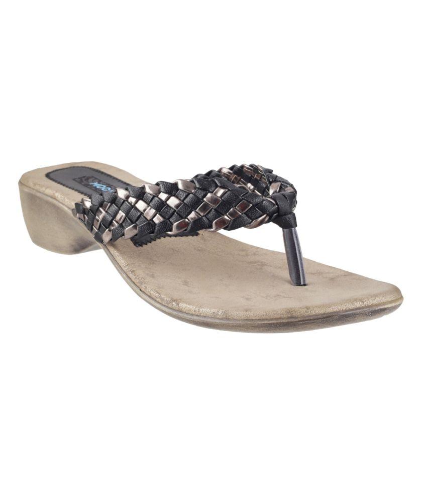 Mochi Classy Black Heeled Slip On