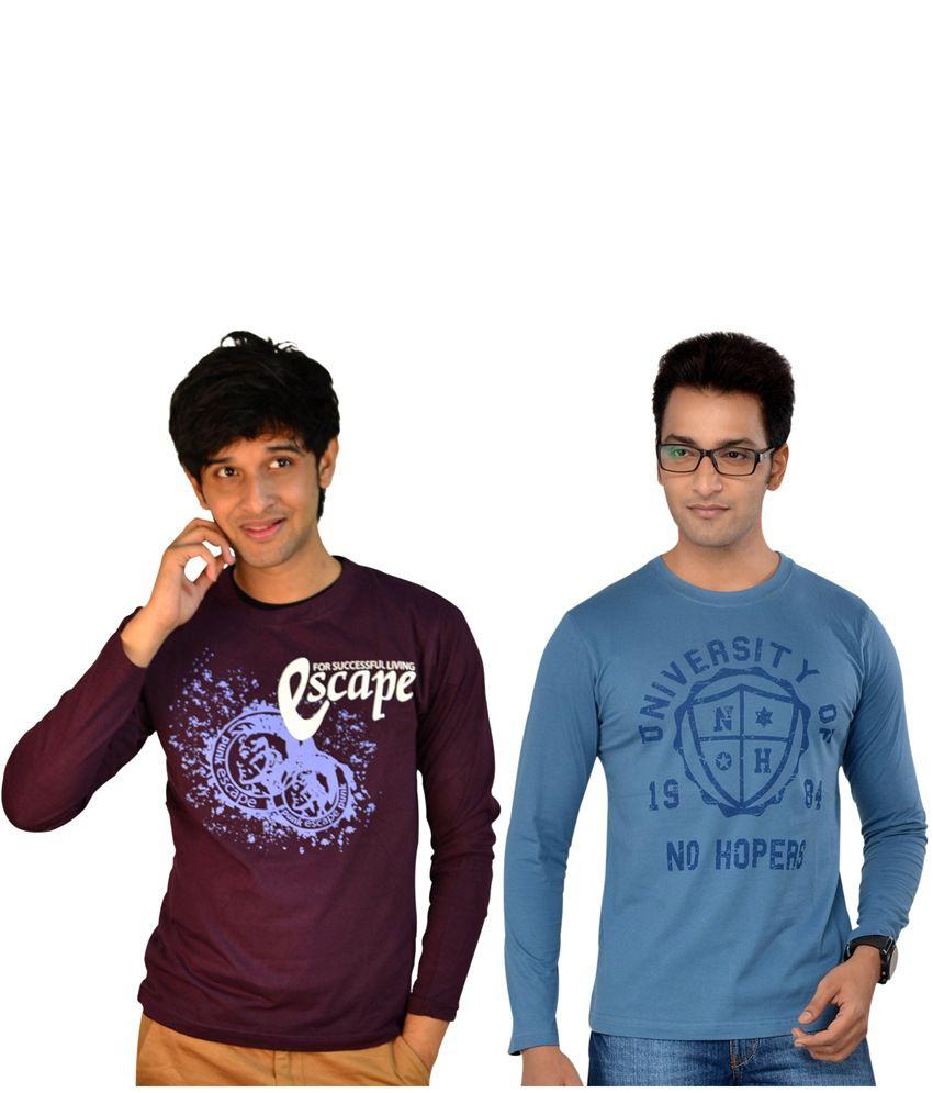 Tsg Escape Multicolour Cotton Round Neck Printed Men's Full Sleeve T-shirt - Pack Of 2