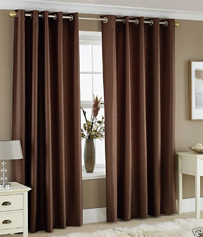 Homefab India Set Of 2 Window Eyelet Curtains Solid Brown