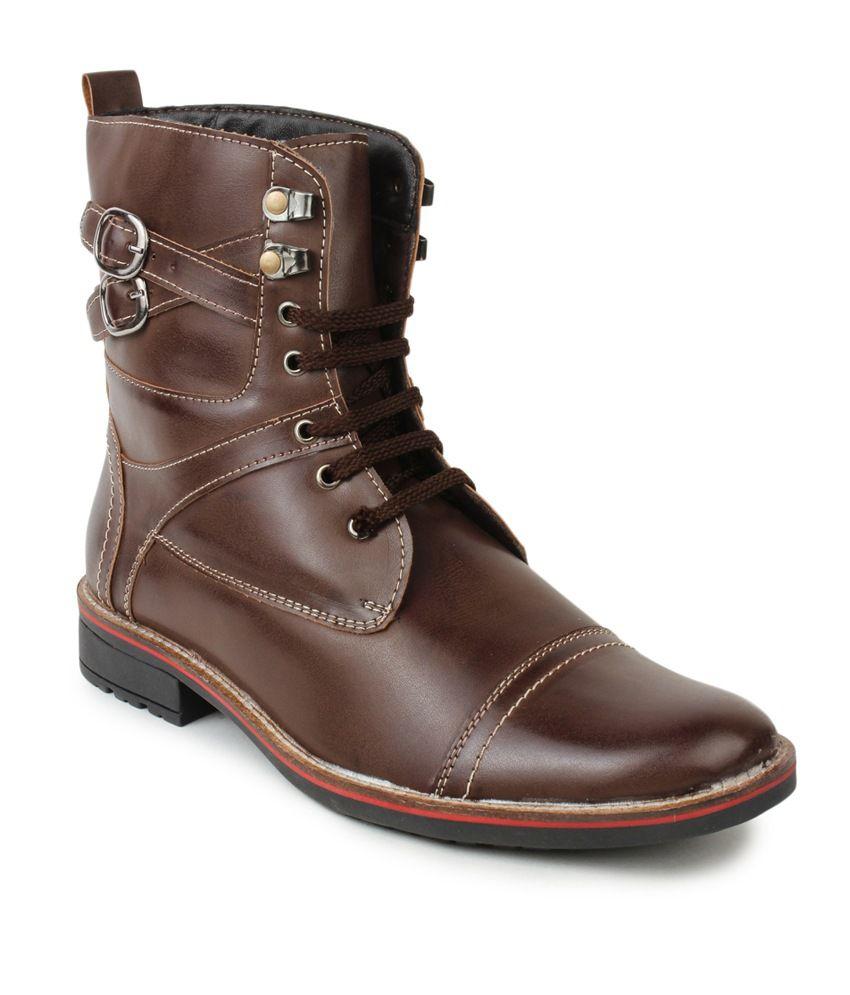 Le Costa Brown Faux Leather Party Wear Men's Boots
