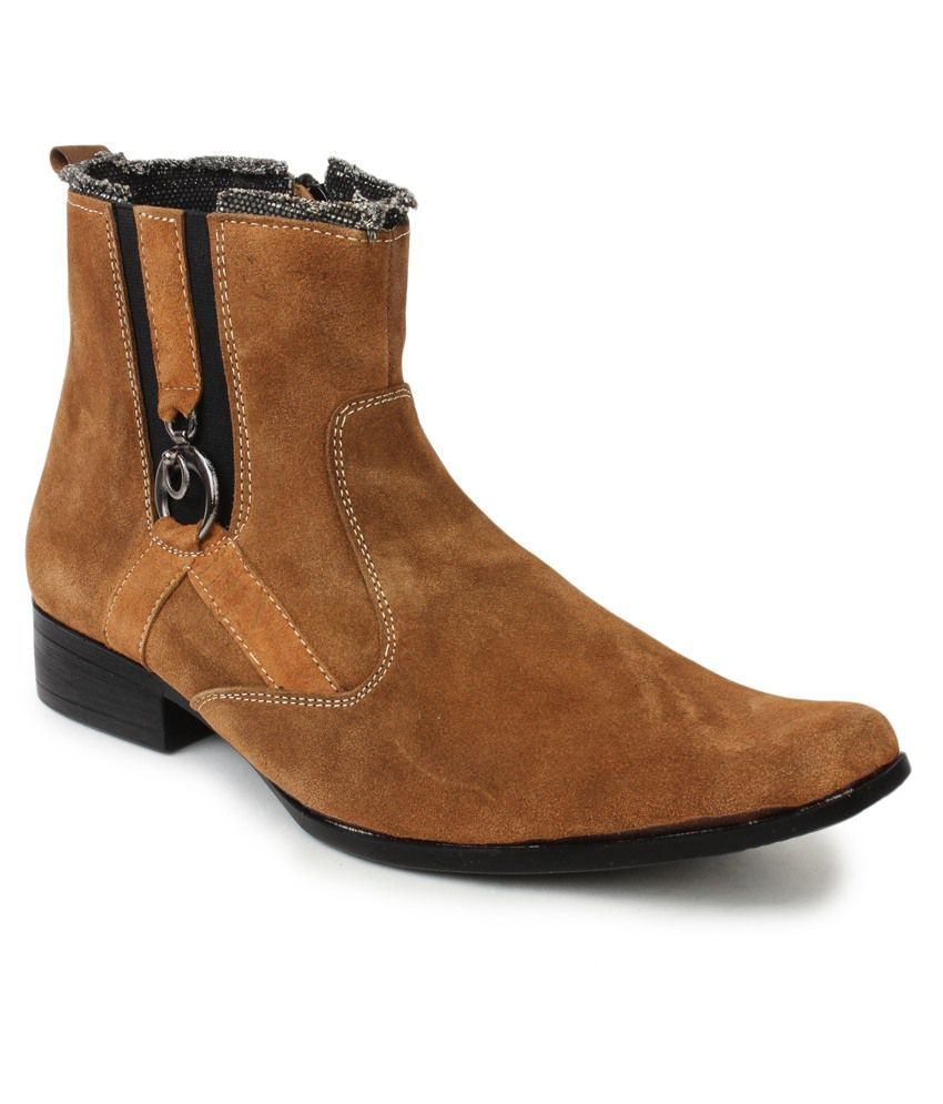 Le Costa Tan Faux Leather Party Wear Men's Boots
