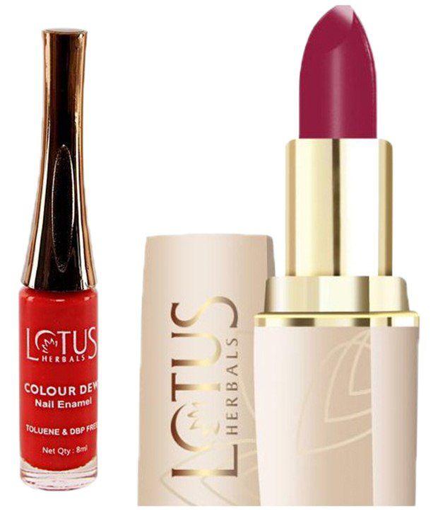 Crimson Nail Polish: Lotus Herbals Combo Of Crimson Red 610 Lipstick 4.2g