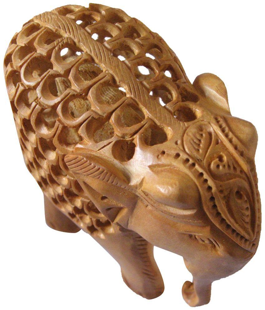 Unique Design Wooden Jaali Elephant Statue 4inch: Buy Unique