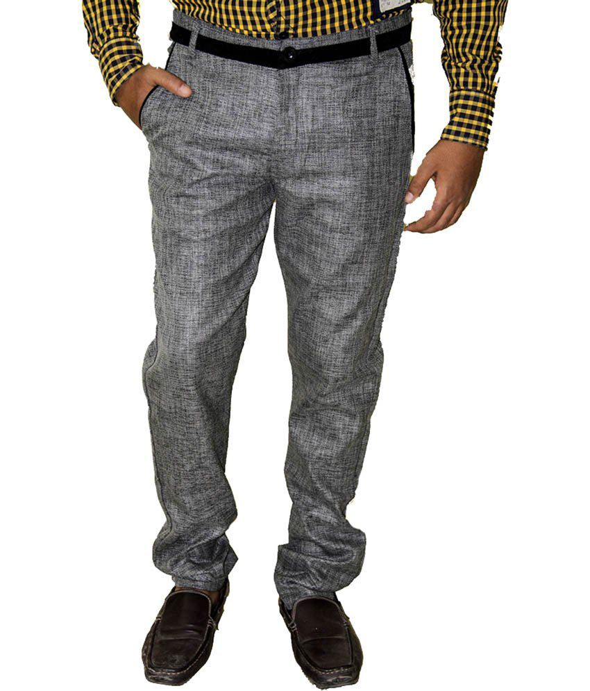 Dgen Gray Cotton Blend Casual Comfort Trouser