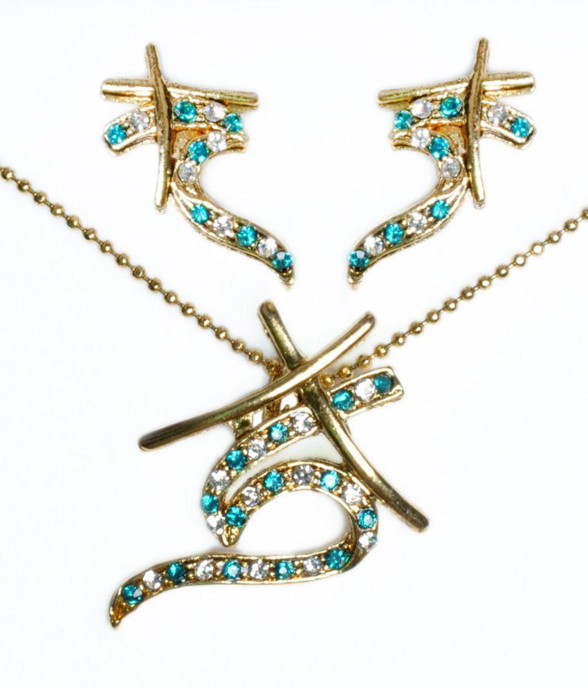 Gen Y Trends Pink Contemporary Designer Gold Plated Necklace Set