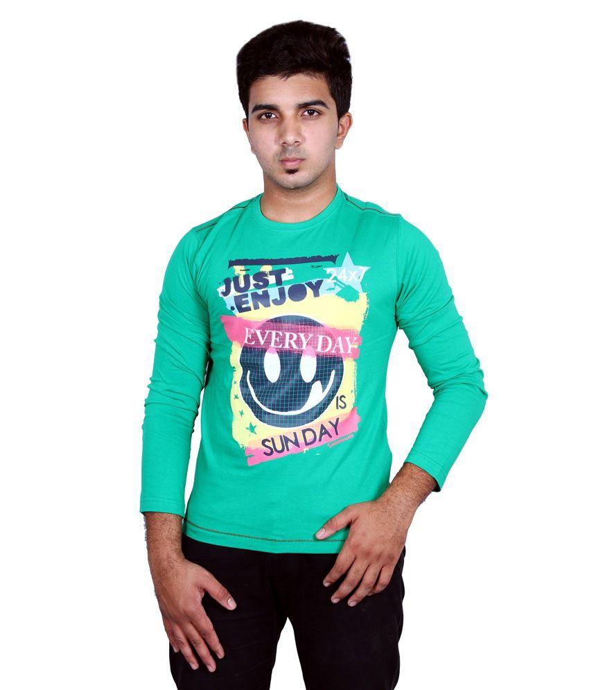 Moonwalker Green Cotton Round Neck Full Sleeves T Shirt For Men
