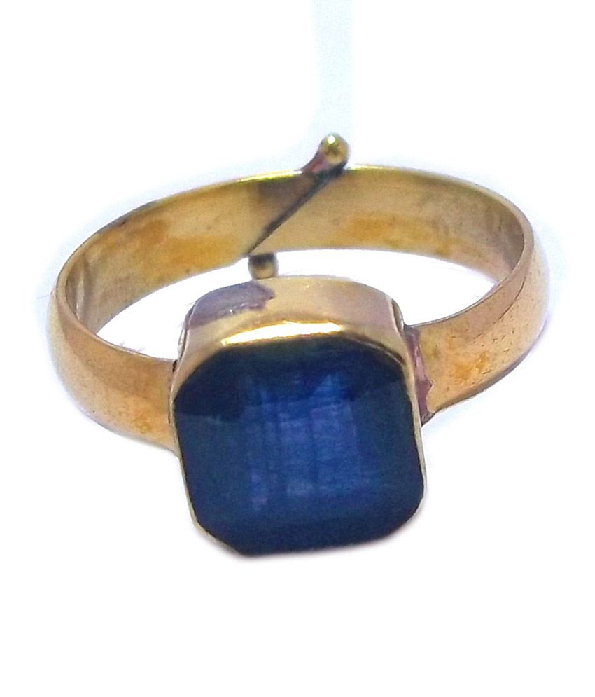 Rs Jewellers 18kt Gold Plated Ring Of Natural Blue Sapphire Gemstone