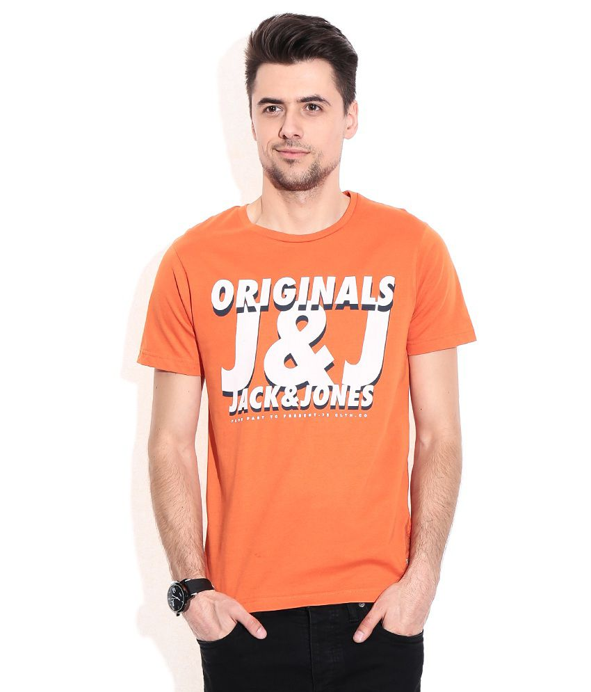 Jack & Jones Orange Cotton Round Neck T-Shirt