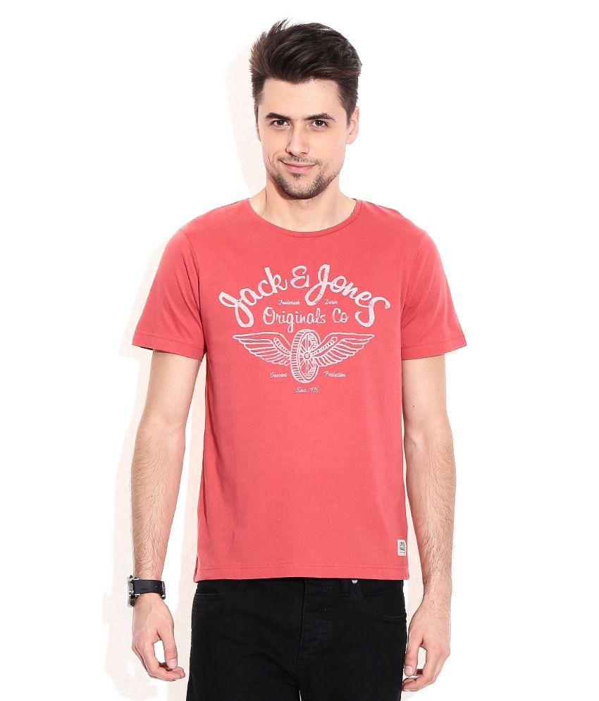 Jack & Jones Red Cotton Round Neck T-Shirt