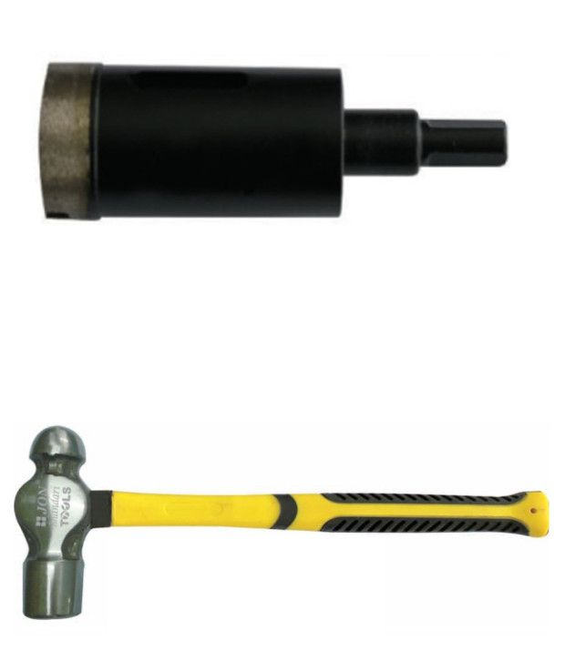 Jon Bhandari Core Bit Diamond Heavy Duty Black Finish And Ball Pein Hammer 12 Oz