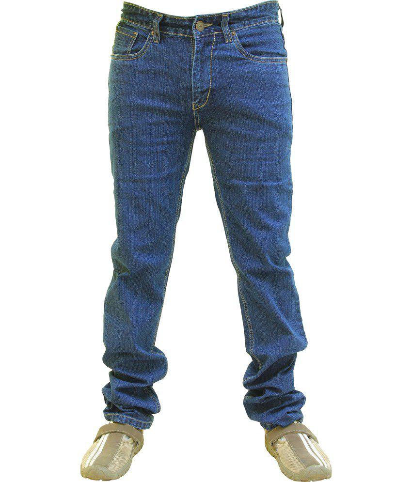 Wabba Blue Cotton Blend Slim Fit Jeans For Men