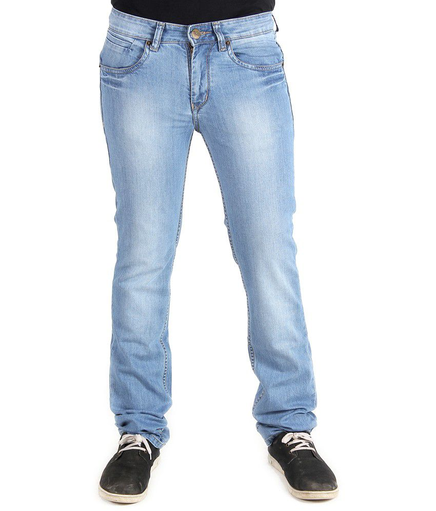 Wabba Blue Cotton Slim Fit Jeans For Men