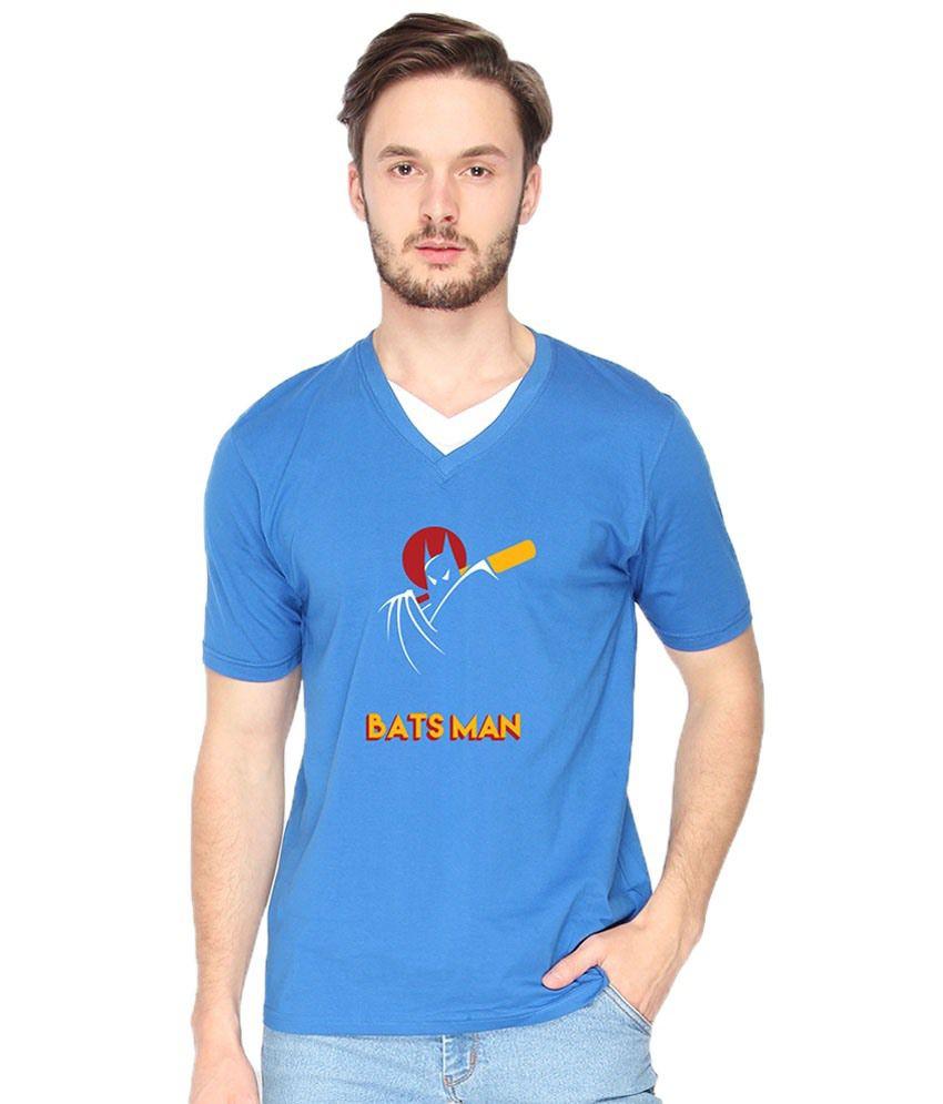 Campus Sutra Bats Man Blue & Red V Neck T Shirt