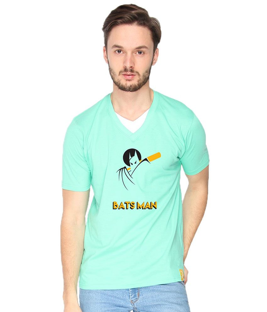 Campus Sutra Bats Man Green & Yellow V Neck T Shirt