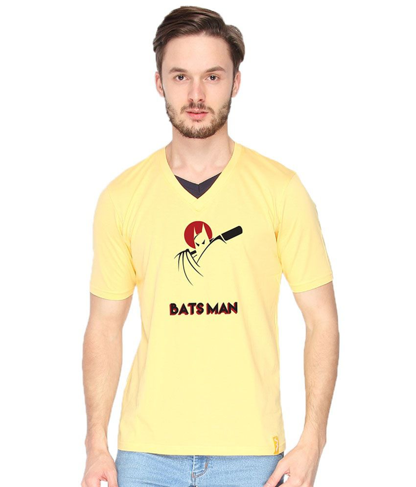 Campus Sutra Bats Man Yellow & Red V Neck T Shirt