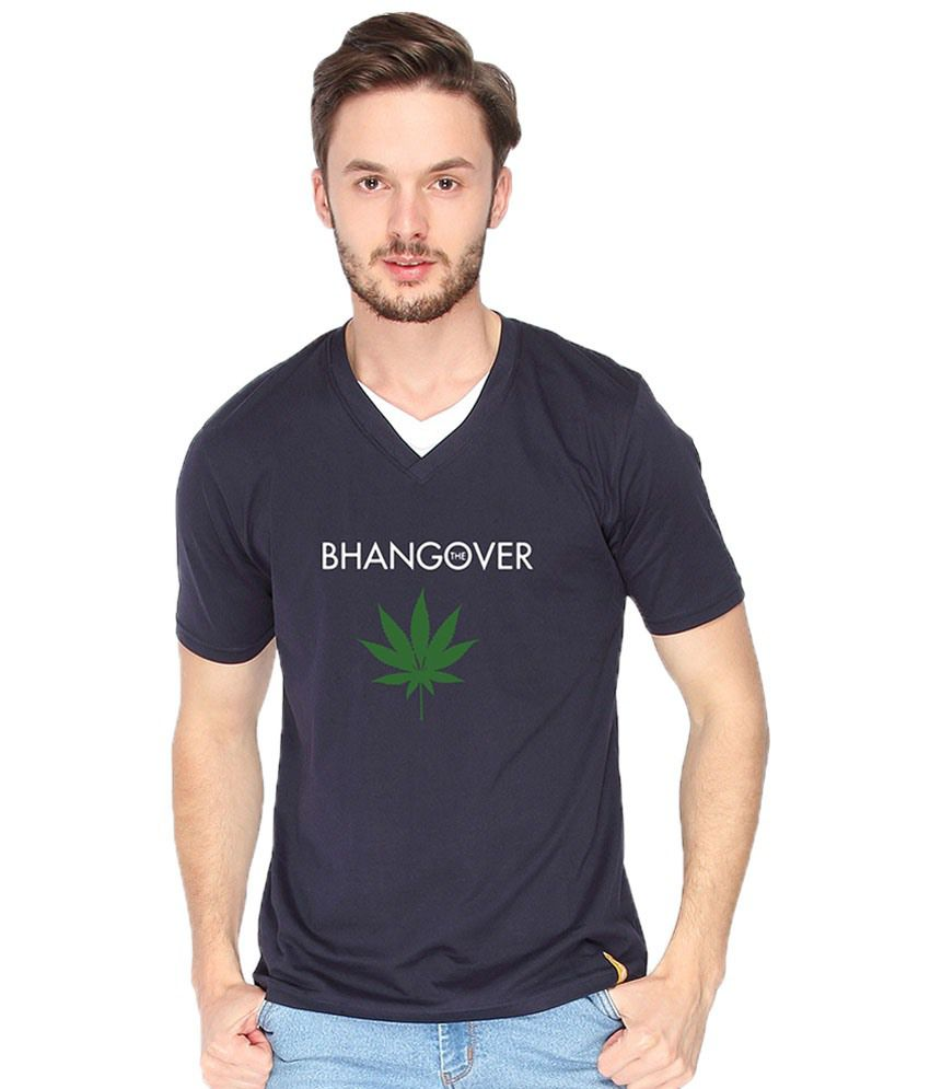 Campus Sutra Bhangover Navy & Green V Neck T Shirt