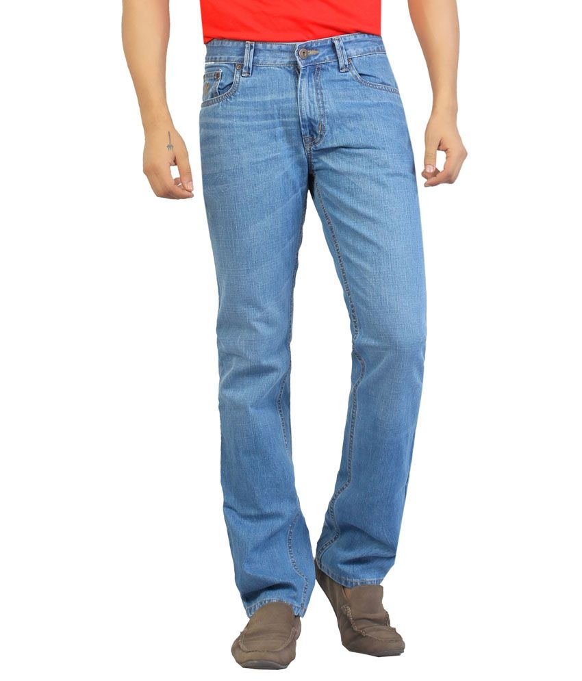 Aliep Blue Cotton Regular Men Jeans