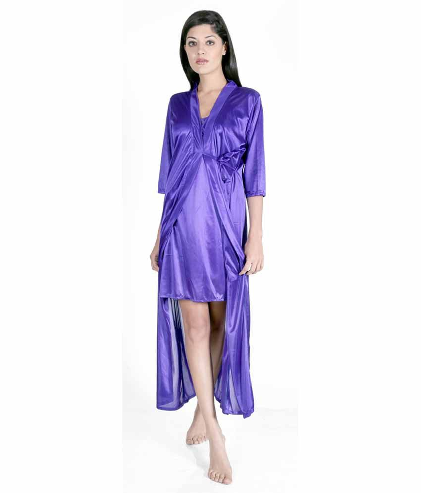 52dfd15a8e2 Buy Claura Blue Satin Nighty Pack of 2 Online at Best Prices in India -  Snapdeal