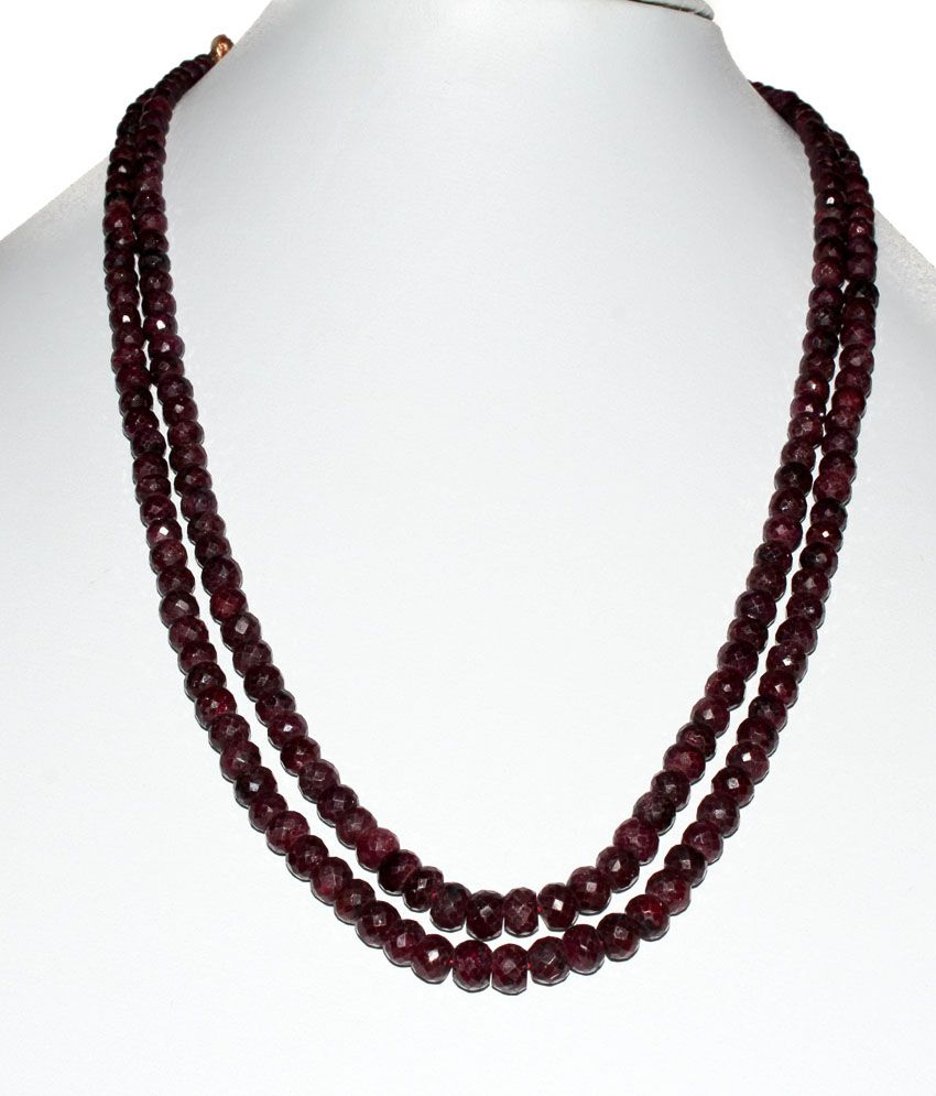 Kcj Maroon Ruby Necklace With Case