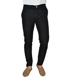 Fashion Black Cotton Regular Fit Jeans
