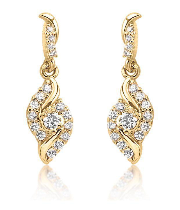 Big Tree 18k Gold Plated Cz Diamond Shiny Earrings