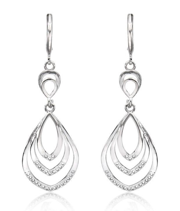 Big Tree18k White Gold Plated Cz Diamond Stylish Dangler Earrings For Women.
