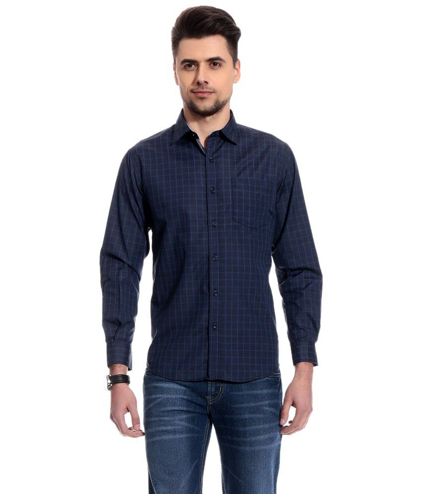 f1900a41cb ... Club Avis Usa Impressive Navy Checks Semi Formal Shirts - Combo Of 2 ...
