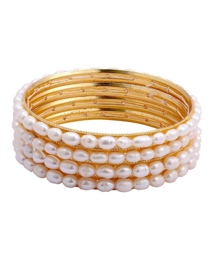 Dd Pearls Oval Shape Freshwater Pearl Bangles Set Buy Dd
