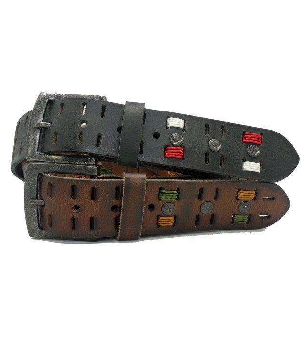 Urban Vintage Classic Leather Belt - Brown