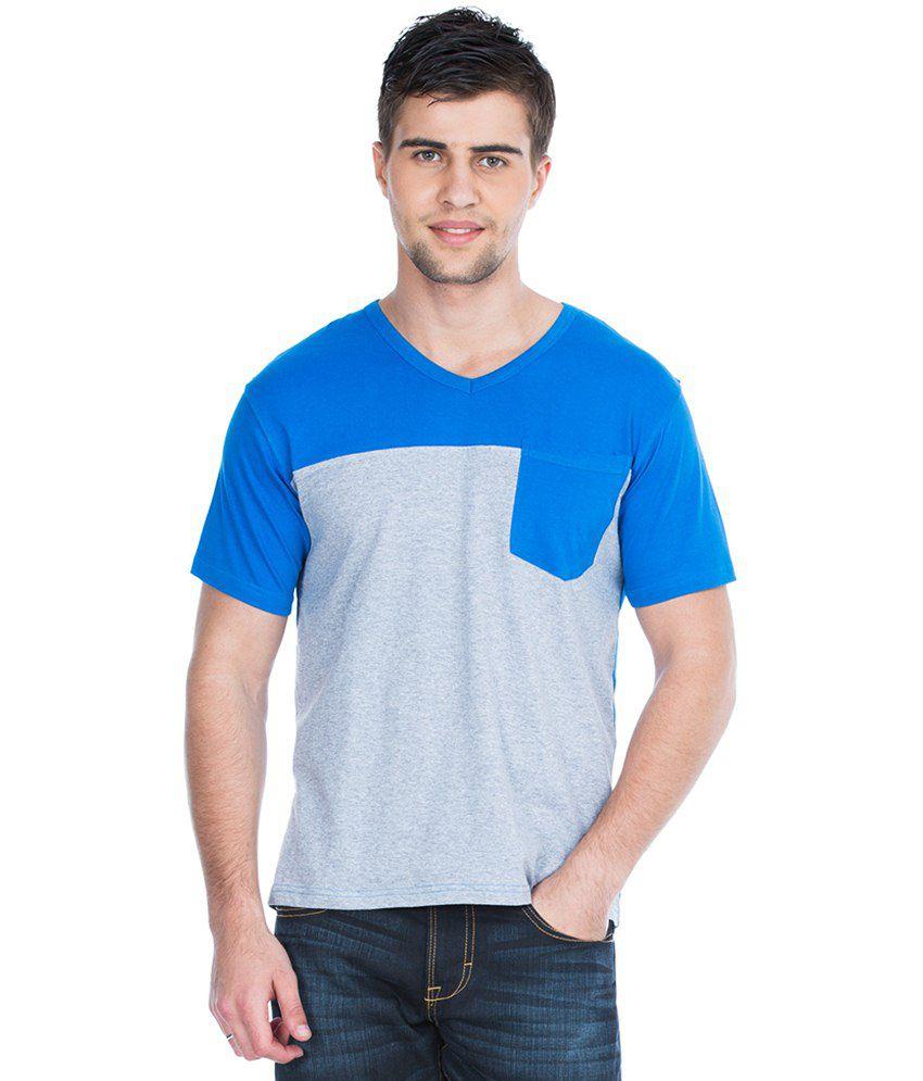Zovi Blue & Gray V Neck Casual T Shirt