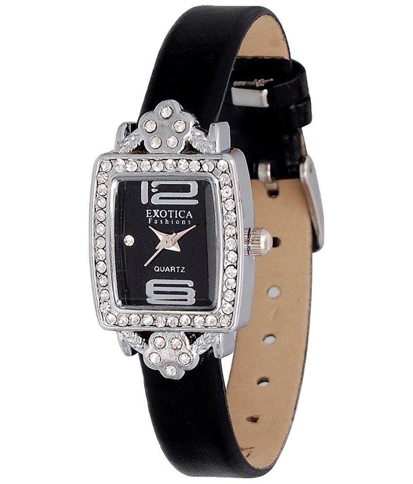 Exotica Fashions Exotica Black Wrist Watch With Rectangular Dial For Women