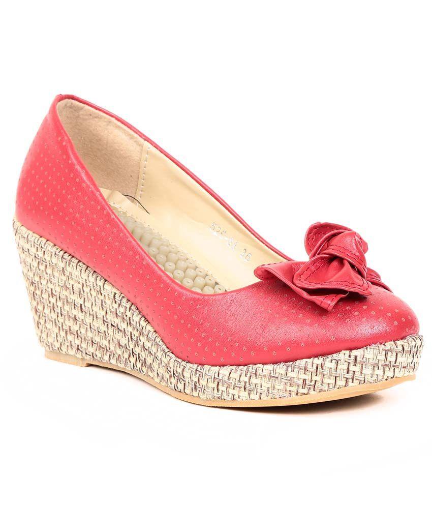 Footloose Red Faux Leather Low Heel Ballerinas