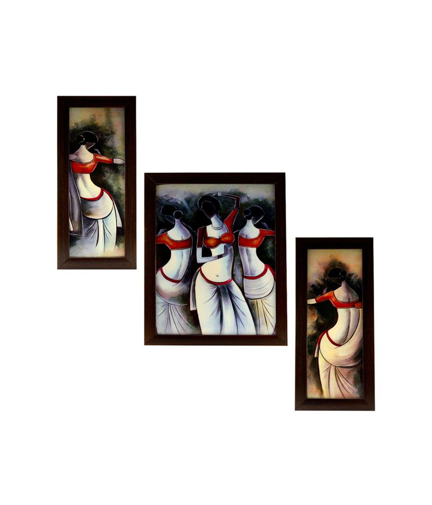Indianara Dancing Indian Women Framed Wall Hanging - Set Of 3