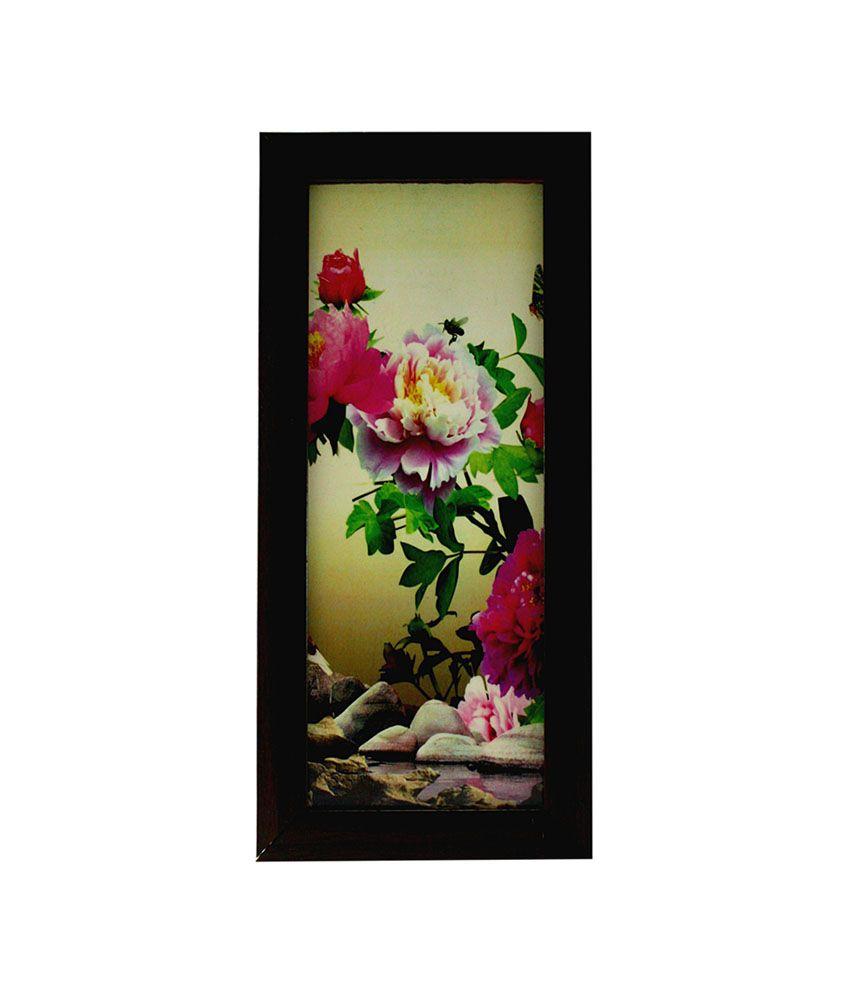 Indianara Stunning Pink Flowers Framed Wall Hanging - Set Of 3: Buy ...