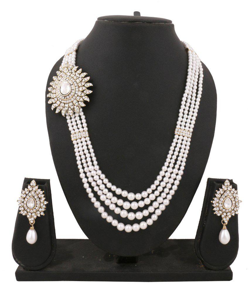 335196b8d4 The Jewelbox American Diamond Pearl Gold Victorian Necklace Set - Buy The  Jewelbox American Diamond Pearl Gold Victorian Necklace Set Online at Best  Prices ...