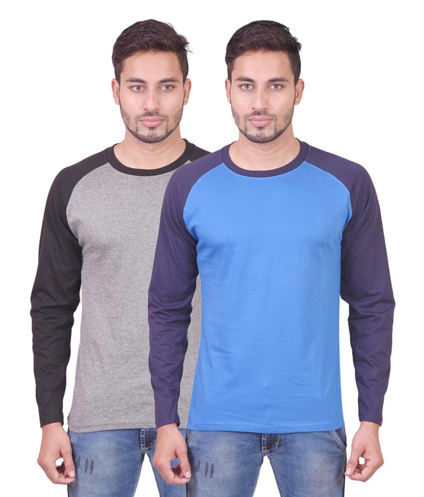Indiemonk Multicolor Cotton Round Neck Basics Full Sleeves T Shirt - Pack Of 2