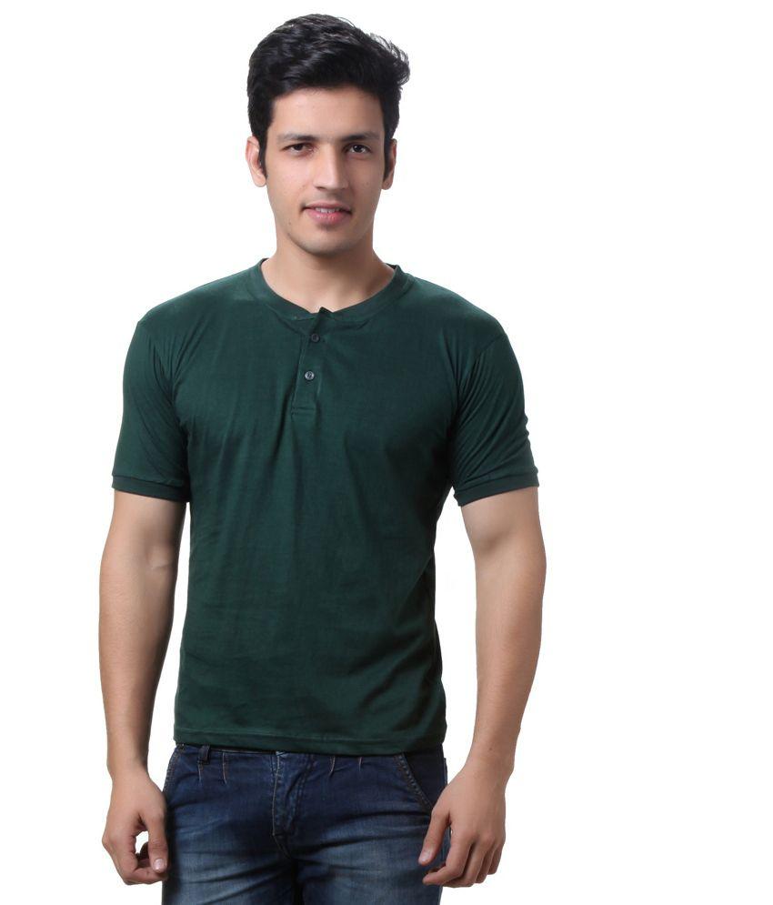 Teemoods Green Cotton Henley Half Sleeves T-shirt