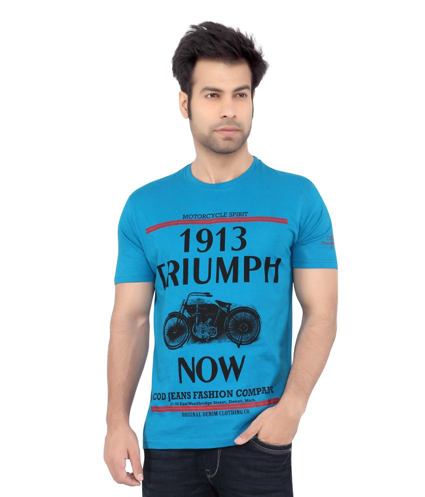 323707e99 Cod Jeans Blue Printed Cotton Half Sleeves T-shirt For Men - Buy Cod Jeans  Blue Printed Cotton Half Sleeves T-shirt For Men Online at Low Price -  Snapdeal. ...