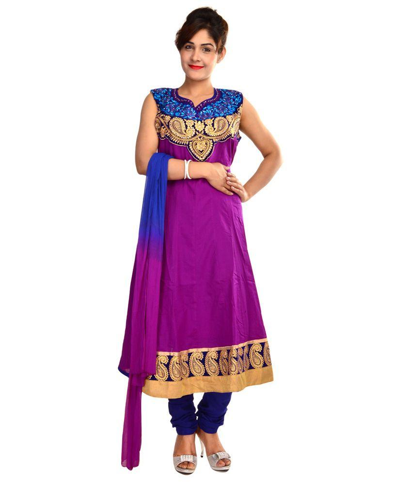 Crazora Purple Embroidered Cotton Stitched Anarkali Salwar Suit