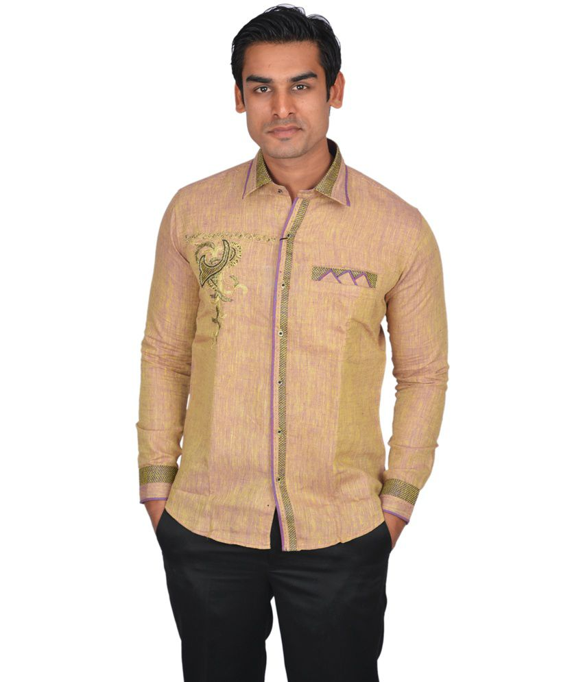 Doublef Biscuit Color Full Sleeve Linen Partywear Shirt For Men - Buy  Doublef Biscuit Color Full Sleeve Linen Partywear Shirt For Men Online at  Best Prices ... 16f375909