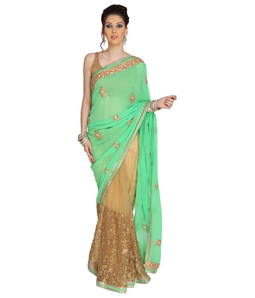 Jashn Green Chiffon Saree