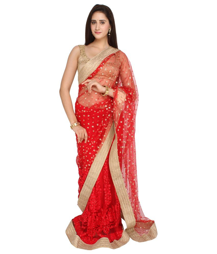 fd353629bf5bf6 Jashn Red and Beige Net Saree - Buy Jashn Red and Beige Net Saree Online at Low  Price - Snapdeal.com