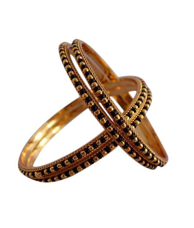 Radha's Creations Black Gold Plated Coloured Bead Bangles