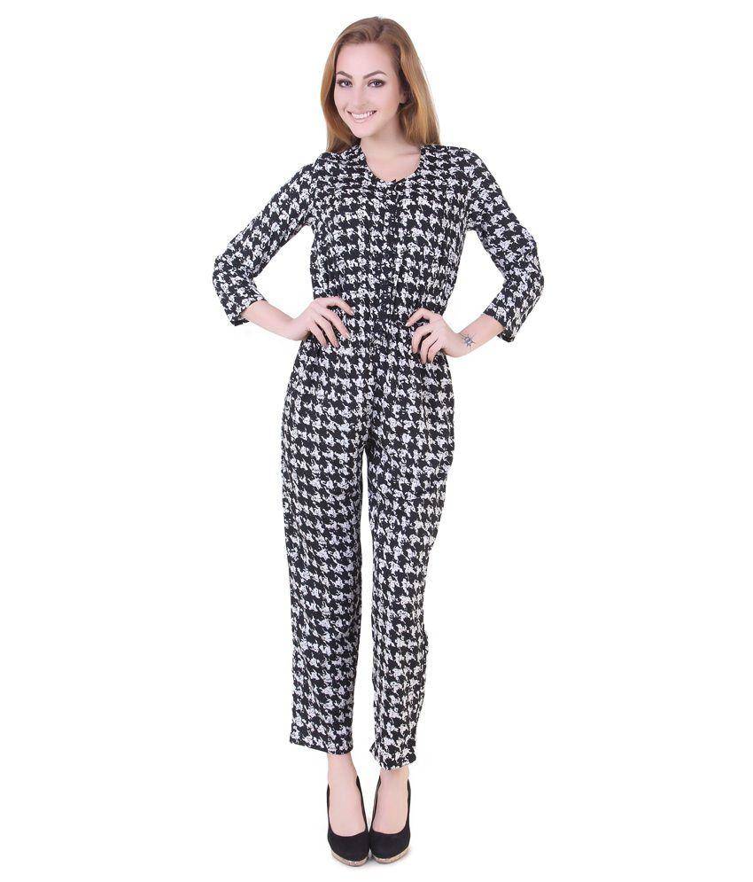 Silk Weavers Black Polyester Jumpsuits