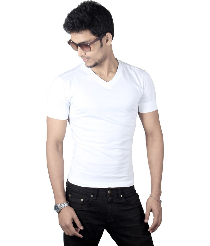 Spur White Cotton V-neck Half Sleeves T-shirt